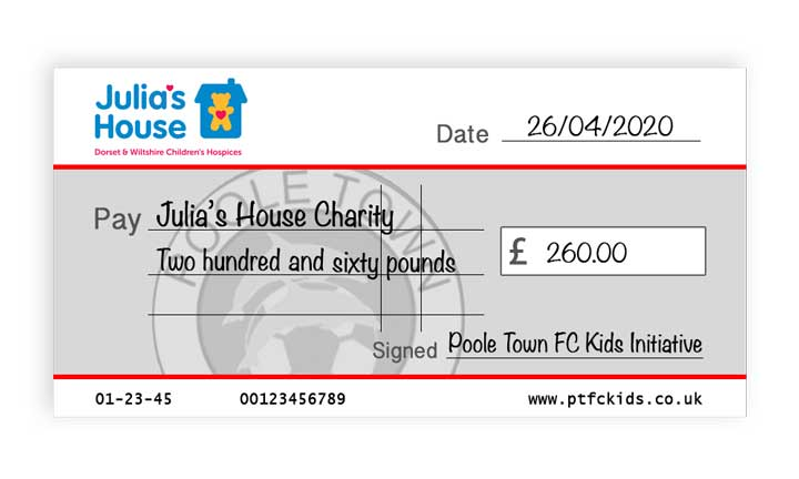 charity cheque JH 260